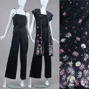 S/M Vintage 70s Blk Jumpsuit Kimono Set 💲Firm✌🏼